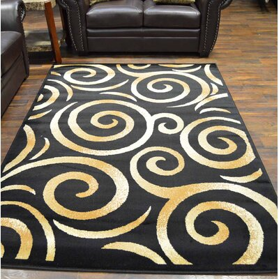 Bella Modern Contemporary Abstract Black/Beige Area Rug