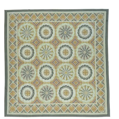 Aubusson Neo Classic Flat Weave Hand-Knotted Wool Beige/Gray Area Rug
