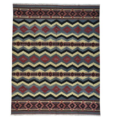 Flat Weave Durie Kilim Oriental Hand-Knotted Dark Pink/Black Area Rug