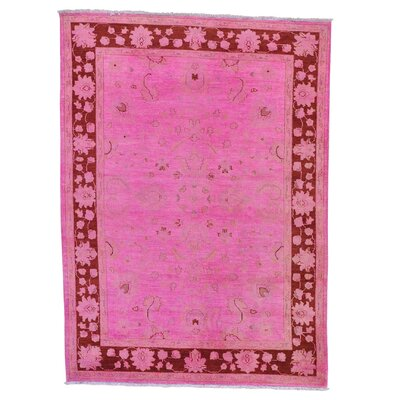 Mahal Overdyed Ziegler Oriental Hand-Knotted Pink Area Rug