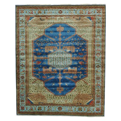 One-of-a-Kind Griego Vegetable Dyes Oriental Hand-Knotted Blue Area Rug