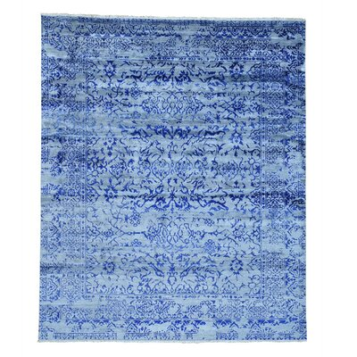 Tone on Tone Broken Oriental Hand-Knotted Blue Area Rug