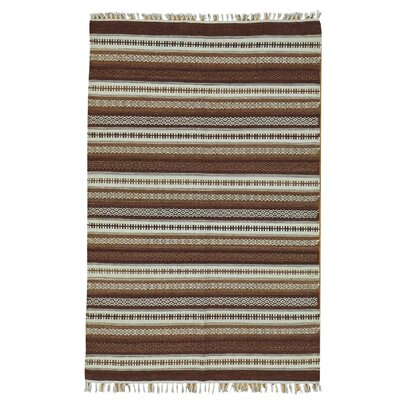 Durie Killim Reversible Flat Weave Striped Hand-Knotted Ivory/Brown Area Rug