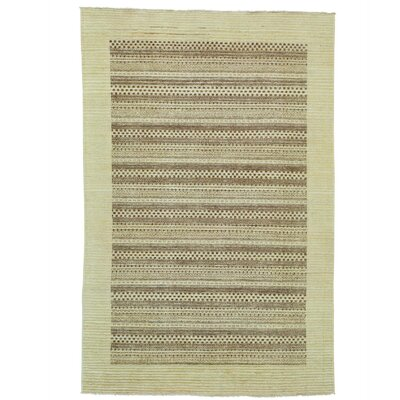 One-of-a-Kind Rothermel Striped Modern Oriental Hand-Knotted Area Rug