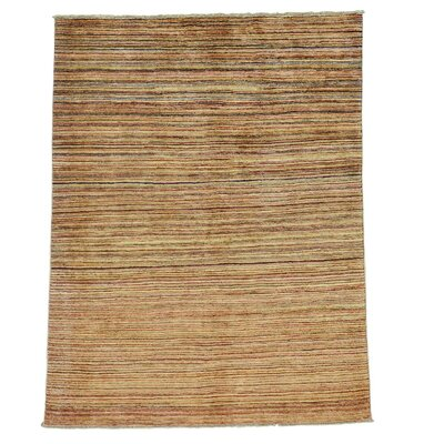 One-of-a-Kind Rothermel Modern Burgundy Transitional Striped Hand-Knotted Area Rug