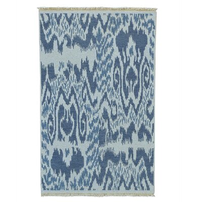 Soumak Ikat Flat Weave Hand-Knotted Gray Area Rug
