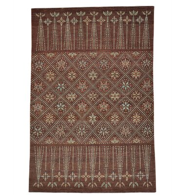 One-of-a-Kind Greear Chocolate Brown Oriental Hand-Knotted Area Rug