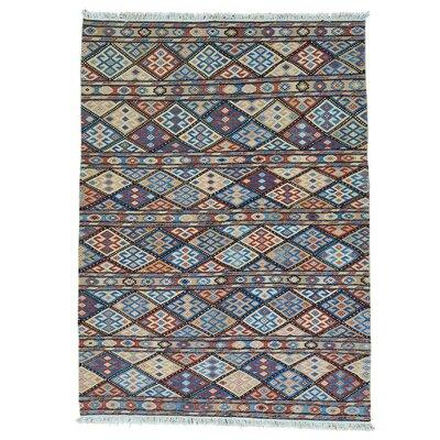 Soumak Caucasian Oriental Hand-Knotted Beige/Purple Area Rug