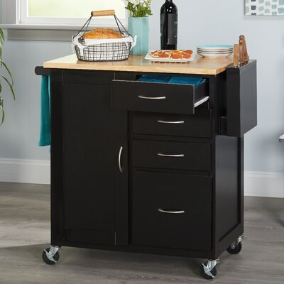 Elida Kitchen Cart with Butcher Block Top