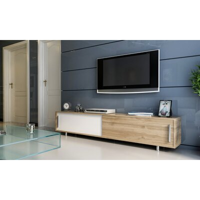 Sandefur 71 TV Stand Color: White/Teak