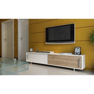Sandefur 71 TV Stand Color: White/Walnut