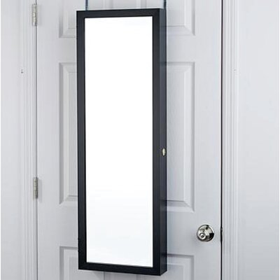Nye Over the Door Jewelry Armoire with Mirror Color: Black