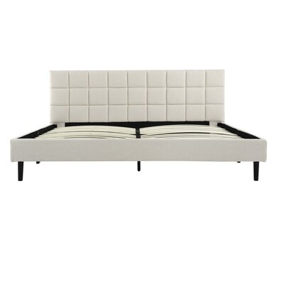 Winsett Upholstered Platform Bed Frame Size: Queen, Color: Cream