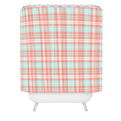 Little Arrow Design Co Plaid in Coral Shower Curtain