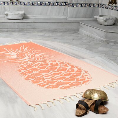 Selborne Pineapple 100% Cotton Lightweight Peshtemal Fouta Beach Towel Color: Coral