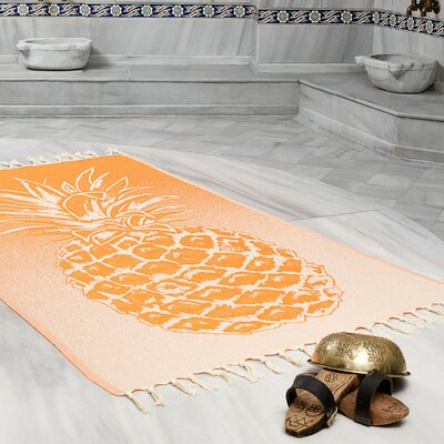 Selborne Pineapple 100% Cotton Lightweight Peshtemal Fouta Beach Towel Color: Orange