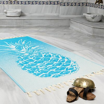 Selborne Pineapple 100% Cotton Lightweight Peshtemal Fouta Beach Towel Color: Turquoise