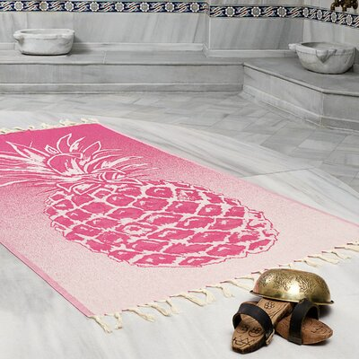 Selborne Pineapple 100% Cotton Lightweight Peshtemal Fouta Beach Towel Color: Fuchsia
