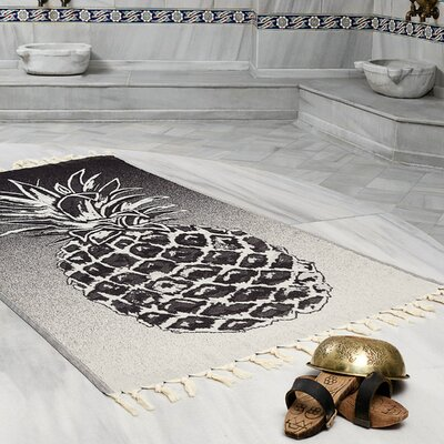 Selborne Pineapple 100% Cotton Lightweight Peshtemal Fouta Beach Towel Color: Black