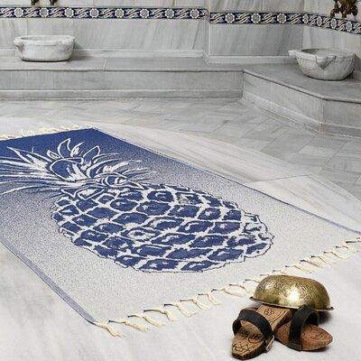 Selborne Pineapple 100% Cotton Lightweight Peshtemal Fouta Beach Towel Color: Navy Blue