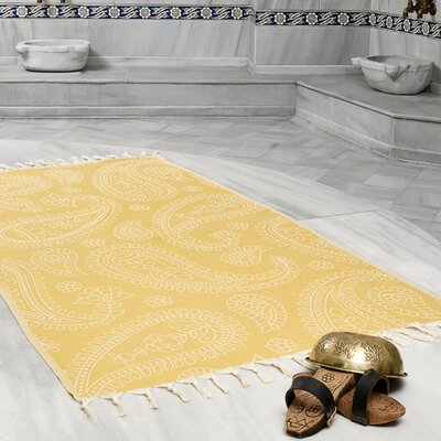 Kiernan Space Saving Fast Drying All Natural Ultra Lightweight Peshtemal Fouta Travel Beach Towel Color: Mustard