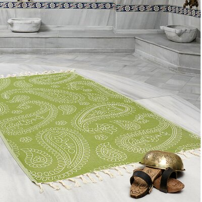 Kiernan Space Saving Fast Drying All Natural Ultra Lightweight Peshtemal Fouta Travel Beach Towel Color: Olive Green