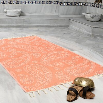 Kiernan Space Saving Fast Drying All Natural Ultra Lightweight Peshtemal Fouta Travel Beach Towel Color: Coral