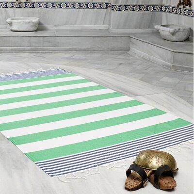 Amey 100% Cotton Pestemal Lightweight Beach Towel Color: Green/Navy