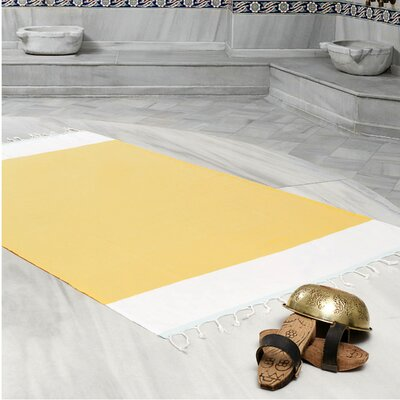 Amett Lightweight Turkish Peshtemal Beach Towel Color: Yellow/Mint