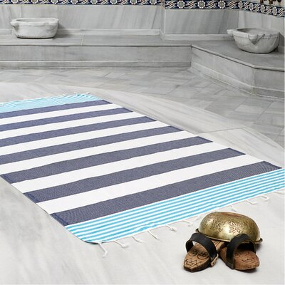 Amey 100% Cotton Pestemal Lightweight Beach Towel Color: Navy Blue/Turquoise