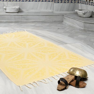 Amet 100% Turkish Cotton Peshtemal Lightweight Beach Towel Color: Yellow