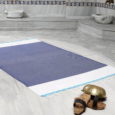 Amett Lightweight Turkish Peshtemal Beach Towel Color: Navy/Turquoise