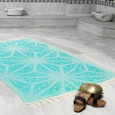 Amet 100% Turkish Cotton Peshtemal Lightweight Beach Towel Color: Sea Green