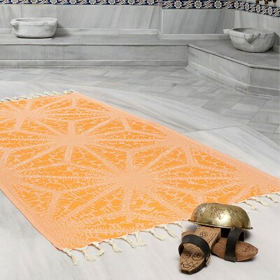 Amet 100% Turkish Cotton Peshtemal Lightweight Beach Towel Color: Orange