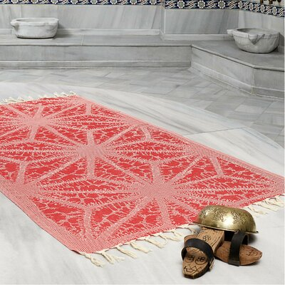 Amet 100% Turkish Cotton Peshtemal Lightweight Beach Towel Color: Red