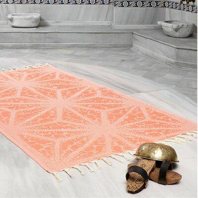 Amet 100% Turkish Cotton Peshtemal Lightweight Beach Towel Color: Coral