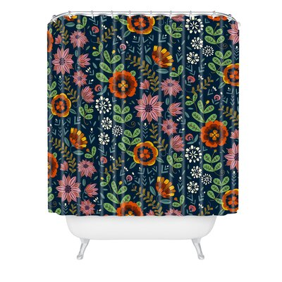 Pimlada Phuapradit Midnight Bloom Shower Curtain