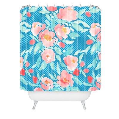Jacqueline Maldonado Floral Dot Aqua Shower Curtain