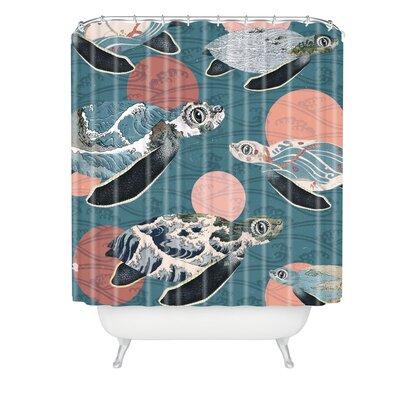 Belle13 Sea Turtle Polka Shower Curtain
