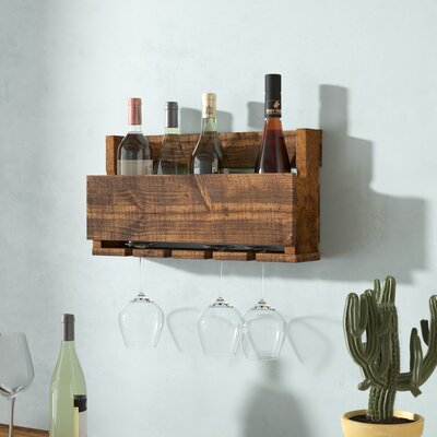 Kupunkamint 4 Bottle Wall Mounted Wine Bottle Rack Finish: Dark