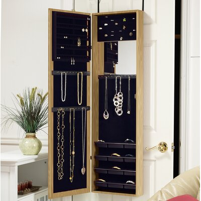 Nye Over the Door Jewelry Armoire with Mirror Finish: Oak