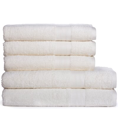 Cotton Oversized 5 Piece Towel Set Color: Ivory