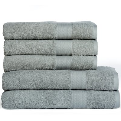 Cotton Oversized 5 Piece Towel Set Color: Jade