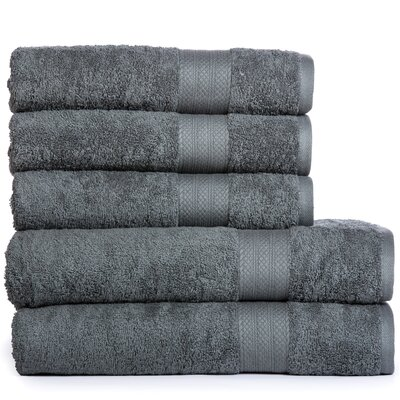 Cotton Oversized 5 Piece Towel Set Color: Gray
