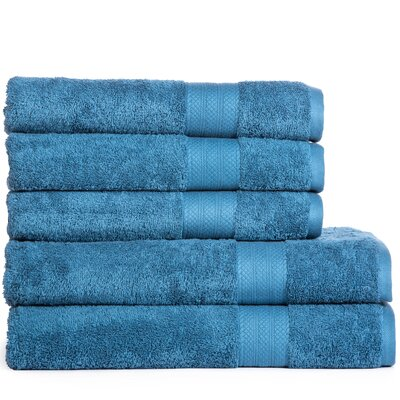 Cotton Oversized 5 Piece Towel Set Color: Denim