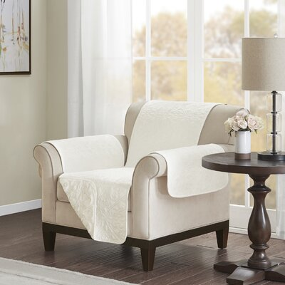 Floral Cotton Printed Reversible Box Cushion Armchair Slipcover Upholstery: Polyester Damask Ivory