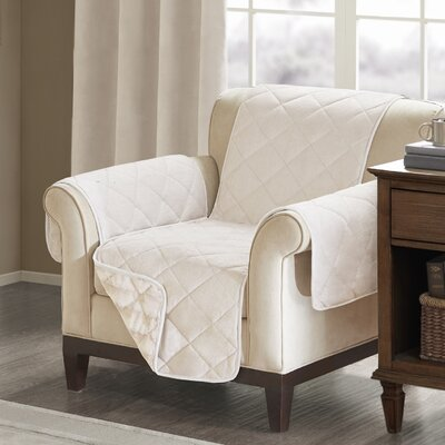 Floral Cotton Printed Reversible Box Cushion Armchair Slipcover Upholstery: Polyester Solid Champagne