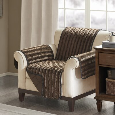Floral Cotton Printed Reversible Box Cushion Armchair Slipcover Upholstery: Polyester Solid Chocolate