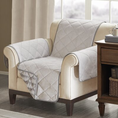 Floral Cotton Printed Reversible Box Cushion Armchair Slipcover Upholstery: Polyester Solid Gray