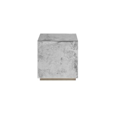Small Reverse Mirror End Table Color: Champagne Silver